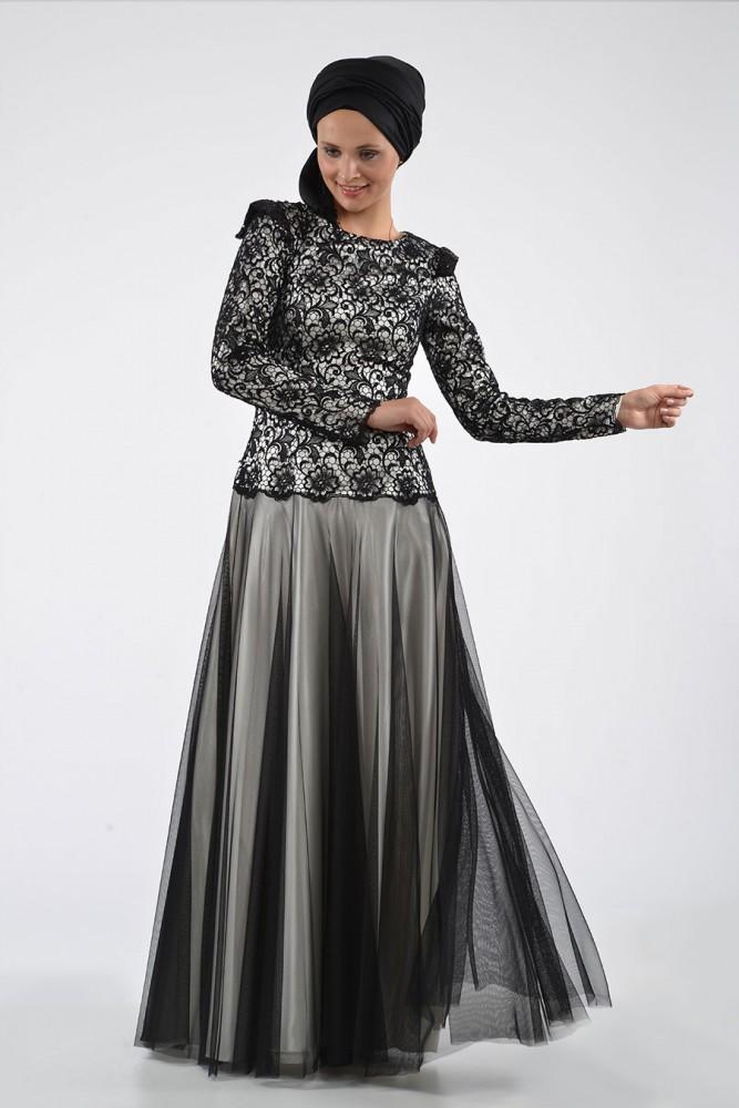 ae374d52e3147 tüllü Tesettür Abiye Elbise - Gelinlik Modelleri
